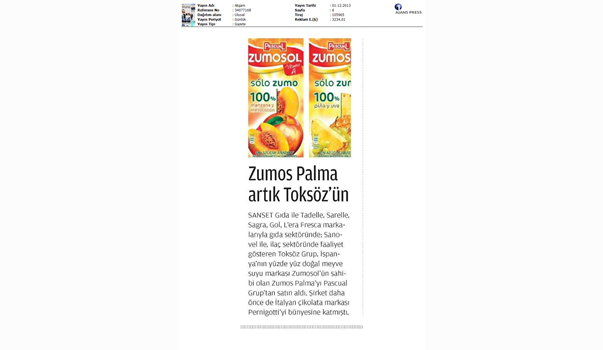 Zumos Palma is acquired by Toksöz
